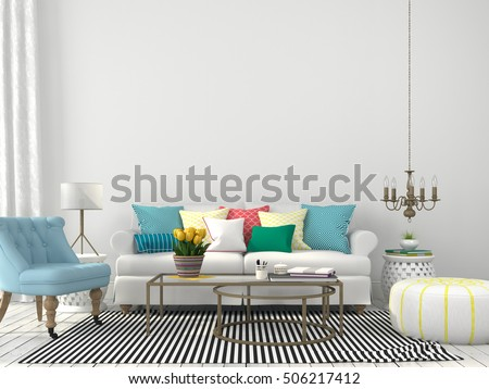 3d illustration. White interior of living room with colorful pillows