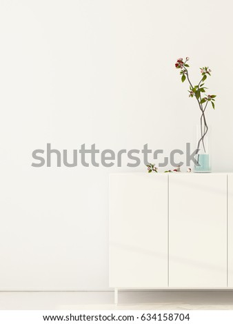 3D illustration. White interior with flowering branches in a vase