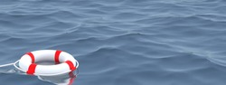 3D illustration.White Lifebuoy in ocean  Emergency lifesaver buoy in water. Saving Lives . Lifeguard equipment with rope floating in sea. lifeguard.3D Render