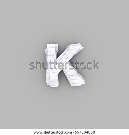 3D illustration white paper  di-cut Alphabet , letter K Stock fotó ©