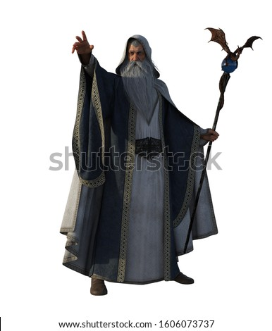3d illustration white wizard with magic book and staff Сток-фото ©
