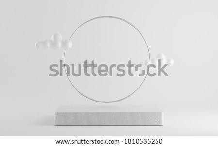 3d illustration with geometric silver cube podium platform for cosmetic pedestal product presentation.Mock up design empty space. Abstract composition in white background modern style stock photo