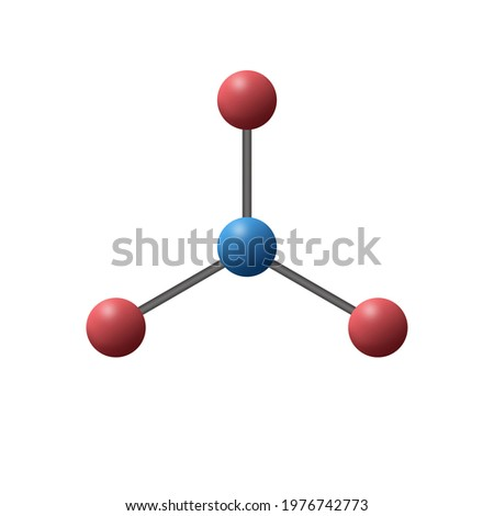 3d illustration with name and degree of trigonal planar is a molecular geometry model with one atom at the center and three atoms at the corners of an equilateral triangle, called peripheral atoms. Stok fotoğraf ©
