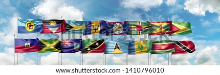 3D Illustration with the Caribbean Community official flag and the national flags of the fifteen Caribbean countries which are full member states of the CARICOM (or CC)