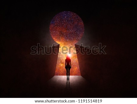 3d illustration. Woman in front of open door with universe behind