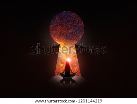 3d illustration. Woman in front of open door with universe behind Photo stock ©