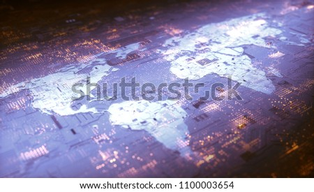 3D illustration. World map of electronic and digital components conceptually representing the world's technology. Cloud computing, internet, connectivity, digital communication, social networking.