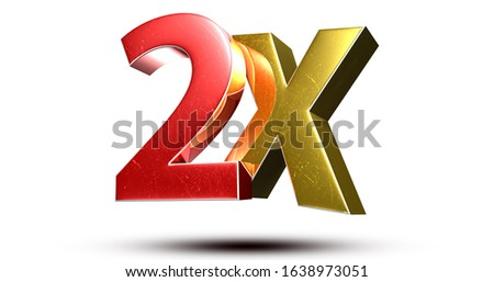 3D illustration 2X red gold isolated on a white background.(with Clipping Path). Сток-фото ©