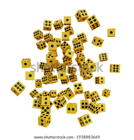 3d illustration yellow dice with white background Stock photo ©