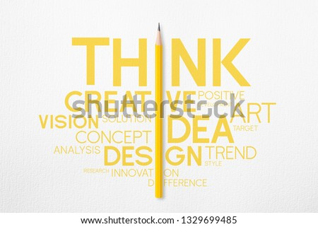 3D illustration : Yellow pencil photo isolated on white paper and interactive to i of yellow uppercase typography word think with creative word cloud that look minimalist.Lighting on pencil in studio.