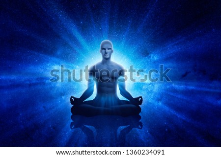 3D Illustration. Yoga men with blue ray
