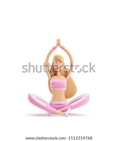 3d illustration. Young girl cartoon character. Sport, yoga and fitness concept. Girl sitting in lotus position