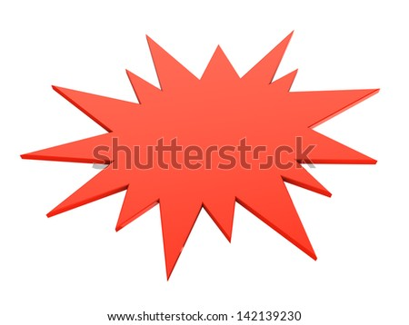 3d illustrations of red bursting star isolated on white