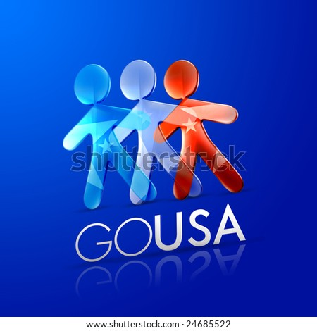 3d ilustrated men representing the american flag with the phrase go usa on a modern font over an intense blue background.