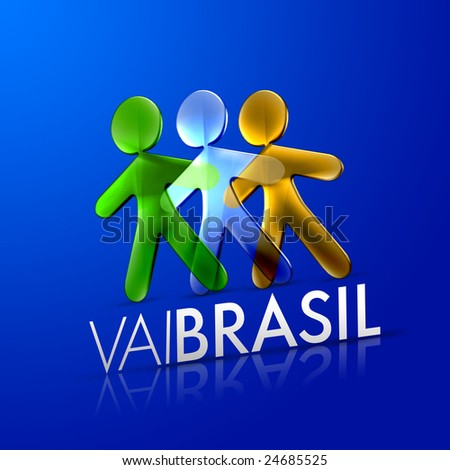 3d ilustrated men representing the brazilian flag with the phrase vai brasil on a modern font over an intense blue background.