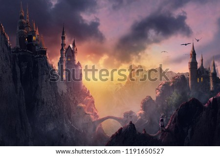 3d image castle on mountain with sunset