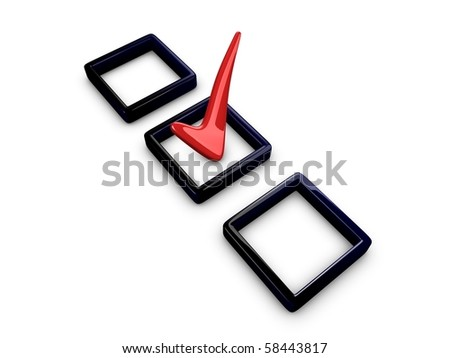 3d image, 3d tick box isolated over white background