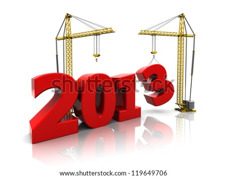 3d image, development concept: 2013  with cranes