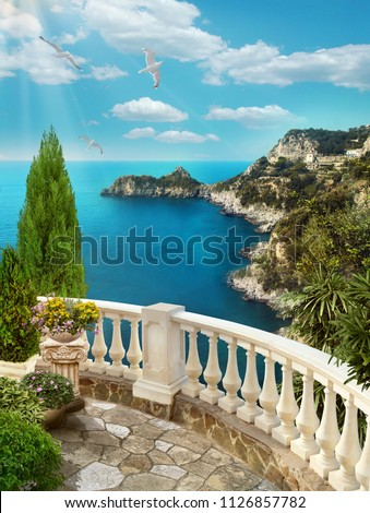 3d image for a wallpaper. View from the balcony to the sea.
