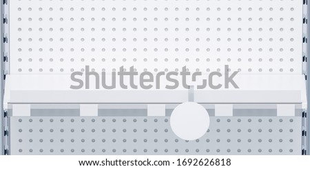 3D image front view. White grocery retail shelf with shelf talker, round wobbler and place for shelf stripe on shelving background design template for mock up.