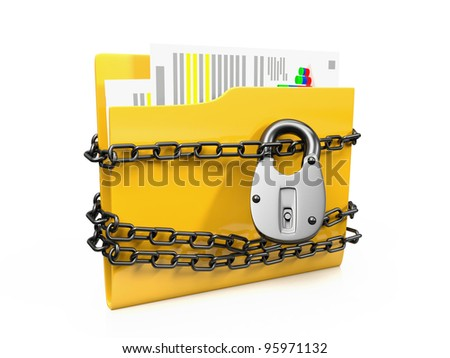 3d image icon is a folder with documents protected by a lock on a white background