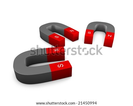 3d image, Magnets, isolated background