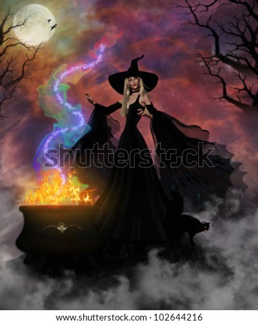 3D image of a beautiful witch and black cat creating a mystic brew in her fiery cauldron in the spooky forest.