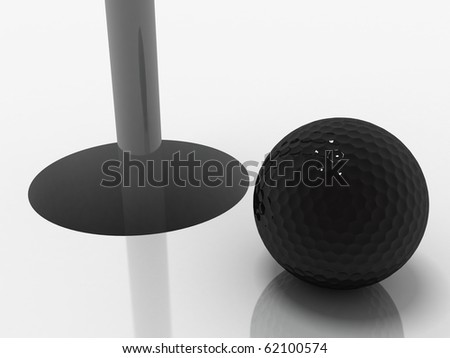 3d image of a black golf ball standing close to the hole ready to be put.