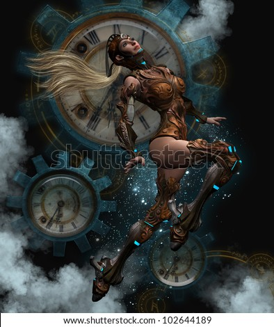 3D image of a blond haired women voyager dressed in Steam punk aviator outfit.  Clocks and gear Steam Punk background. - stock photo