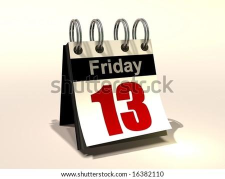3D image of a flip book calendar Friday the 13th
