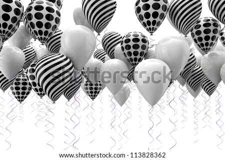 3d image of abstract black and white ballons