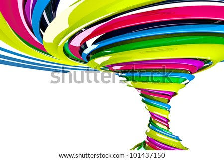3d image of abstract colorful twisted swirl on background