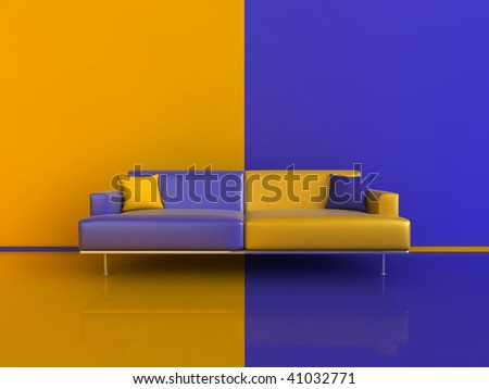 3d image of an unusual contrasting sofa/wall/floor, in Blue and Orange