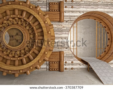 3d image of bank vault make with hardwood