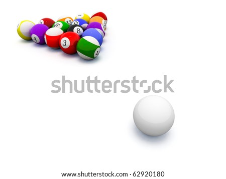 3d image of billiard balls