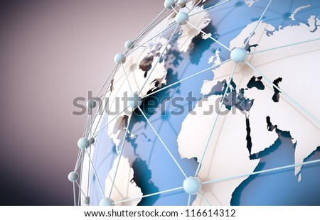 3d image of blue networking and internet concept and globe wold map