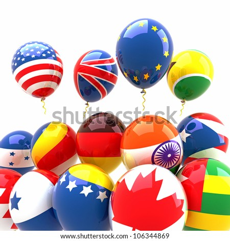 3d image of bunch of balloon with different country flag