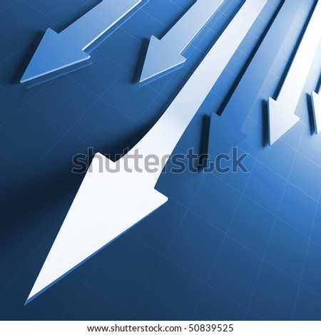 3d image of business financial running arrows