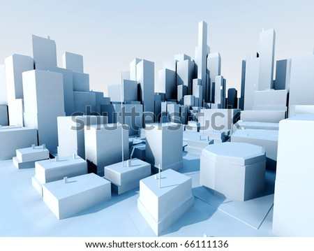 3D image of city landscape with skyscraper