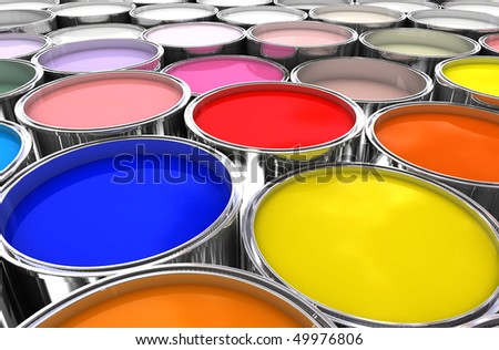 3d image of color ink tank background