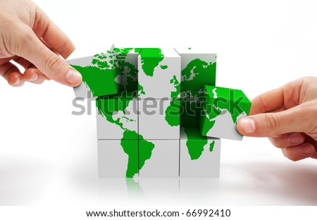 3d image of conceptual cube world map