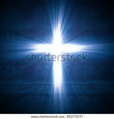 3d image of cross of light - stock photo
