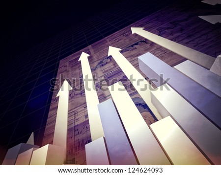 3d image of 3d arrows and chart