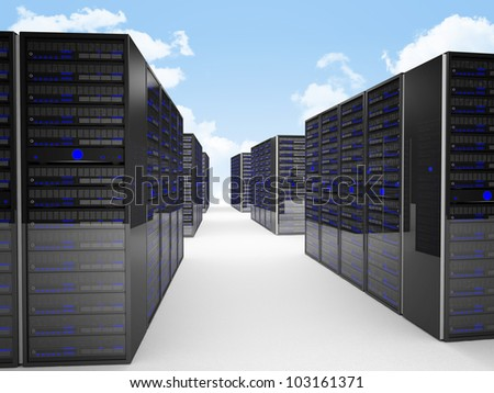 3d image of datacenter and blue sky