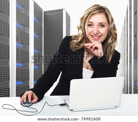 3d image of datacenter with lots of server and woman at work