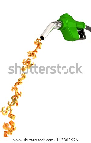 3d image of dollar symbol fuel nozzle against white - stock photo
