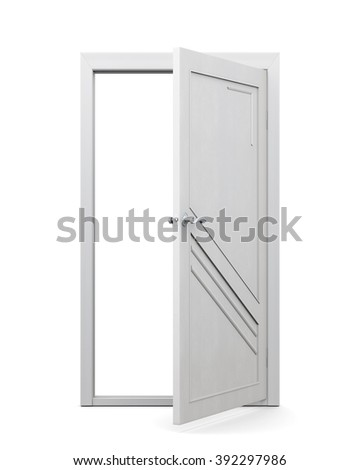 3d image of door on a white background. Open door.