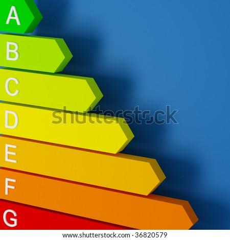 3d image of energy saver label fine background