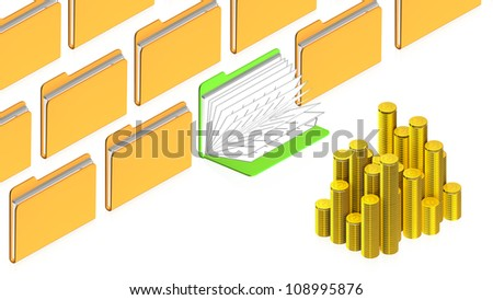 3D image of folsers with coins for use in presentations, manuals, design, etc.