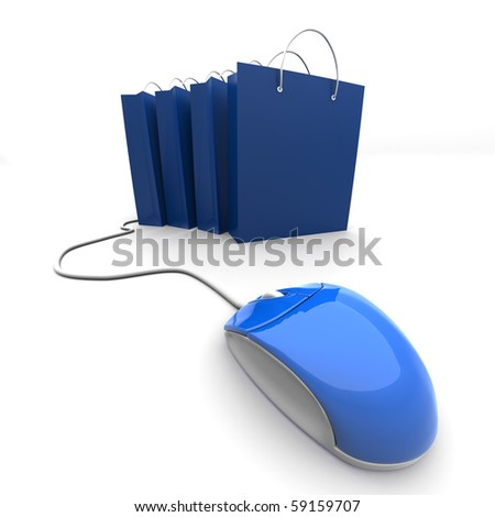 3D image of four shopping bags with computer mouse